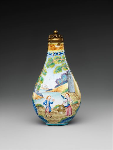 Snuff bottle with European figures. Qing dynasty (1644–1911), Qianlong period (1736–95). China. Accession number: 14.40.577a, b.
