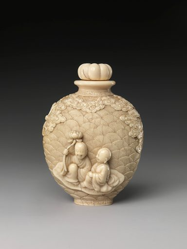 Snuff Bottle with Buddhist Figures (18th century). Qing dynasty (1644–1911). China. Accession number: 50.145.216a, b.