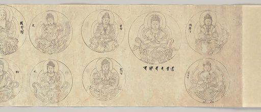 Scroll of Deities of the Diamond World Mandala. Date: dated 1083, Heian period (794–1185). Japan. Accession number: 19752683.