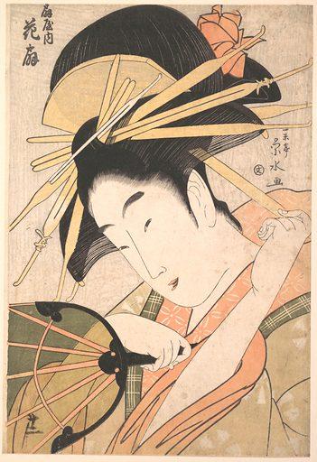 The Courtesan Hanaōgi of the Ōgiya Brothel (Ōgiya no uchi Hanaōgi). Date: 1790s, Edo period (1615–1868). Japan. Accession number: JP1794.