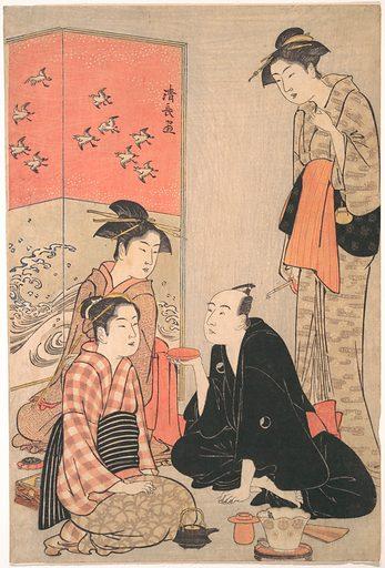 The Kabuki Actor Sawamura Sōjūrō III and Courtesans (ca 1783–84). Edo period (1615–1868). Japan. Accession number: JP2611.