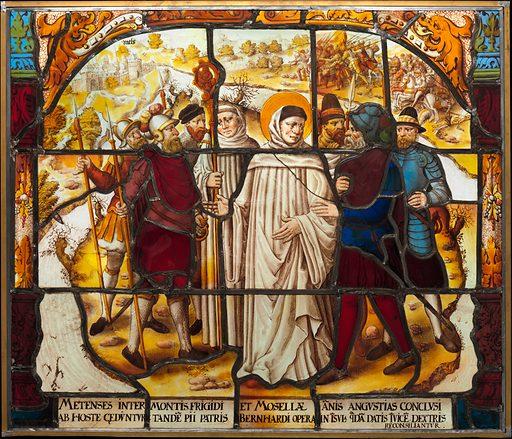Life of Saint Bernard of Clairvaux: Saint Bernard mediates a dispute between Bishop Stephan von Bar and Duke Matthew von Lothringen in Metz (one of two). Date: after 1535. Accession number: 591831.
