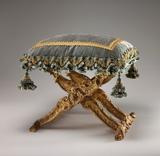 Folding stool (pliant) (one of a pair). Date: ca 1735–39. Accession number: 19712069.