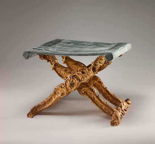 Folding stool (pliant) (one of a pair). Date: ca 1735–39. Accession number: 197120610.