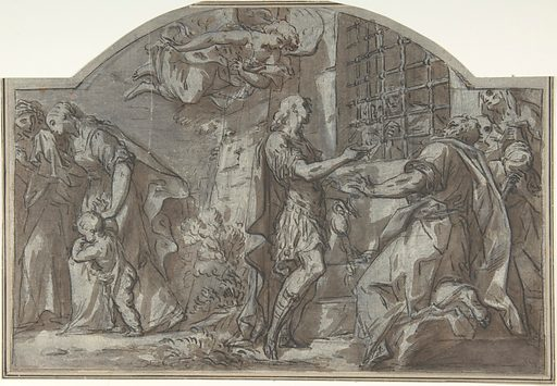 Saint Sebastian Exhorts the Christian Prisoners (18th century). Accession number: 80.3.367.