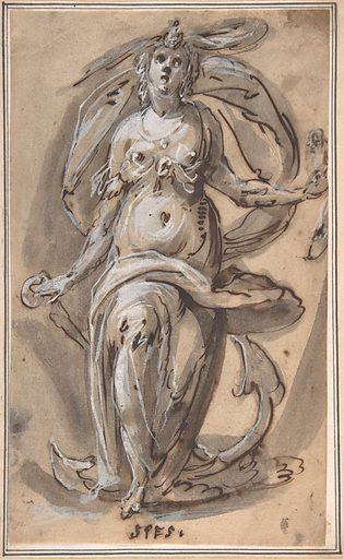 """Standing Female Figure with an Anchor (""""Spes"""") (1600–1630). Accession number: 2000.155."""