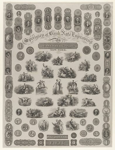 Specimen Sheet of Bank Note Engraving (ca. 1828). Accession number: 17.3.3585(47).