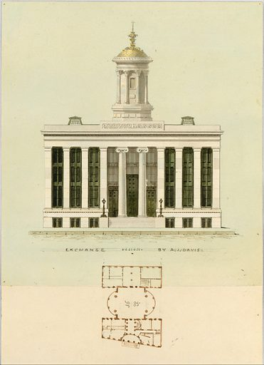 Façade Design and Old Plan for the First Merchant's Exchange, New York  (unexecuted; front elevation and plan) (ca. 1829). Accession number: 24.66.621.