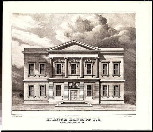 The Branch Bank of the United States, Wall Street, New York, Erected in 1825 (from Views of the Public Buildings in the City of New York Correctly Drawn on Stone by A. J. Davis, 1827) (1826–28). Accession number: 54.90.672.