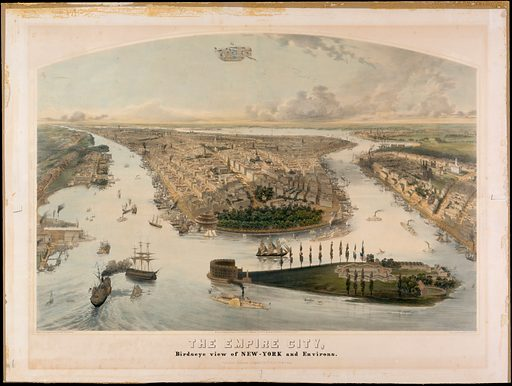 The Empire City, Birdseye View of New York and Environs (1855). Accession number: 54.90.1198.