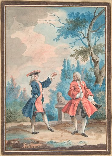 Two dancing male figures in a landscape (18th century). Accession number: 62.122.19.