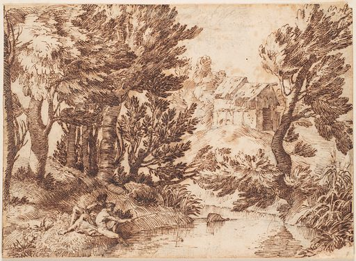 Landscape with Figure Reclining and Figure Fishing (17th century). Accession number: 80.3387.