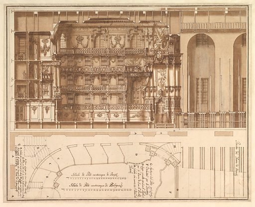 Designs for the Theater at Nancy: Longitudinal Section and Half Ground Plan (1709). Accession number: 1972.713.61.