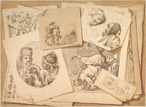 Trompe-l'Oeil Exercise: Prints on a Table Top (1766). Accession number: 69.14.2.