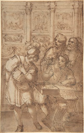 Architect in His Study Holding a Compass and Conversing with Three Men (17th century). Accession number: 1975.131.78.