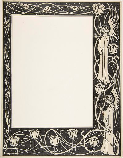 """Praying Angels and Poppies (Border Design for Thomas Malory, """"Le Morte d'Arthur,"""" J. M. Dent 1893–94, Part III, book vii, chapter i, p. 219) (by May 30, 1893). Accession number: 23.90."""