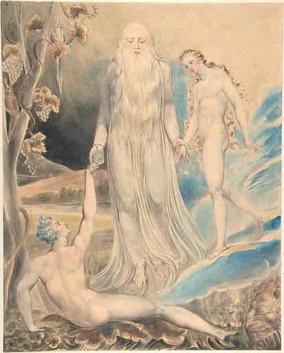 """Angel of the Divine Presence Bringing Eve to Adam (The Creation of Eve: """"And She Shall be Called Woman) (recto); Sketch for the same (verso) (ca. 1803). Accession number: 06.1322.2."""