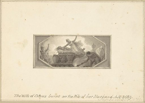 The Wife of Ceteus burnt on the Pile of her Husband (1790–1800). Accession number: 33.69.11.