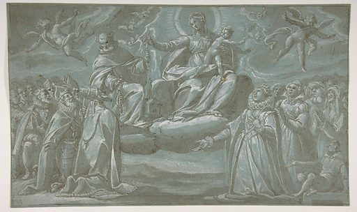 The Virgin and Child, Saint Dominic, and Angels Distributing Chaplets to the Faithful (1575–1640). Accession number: 62.119.4.