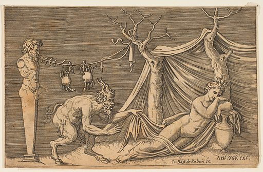 A satyr discovering a sleeping woman; two crabs hanging from a rope which is strung between a term and a tree (ca. 1515–27). Accession number: 59.570.304.