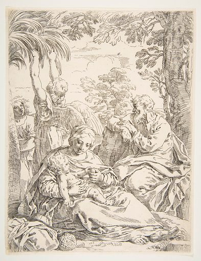 The Holy Family resting on their flight into Egypt (ca. 1637–1639). Accession number: 26.70.4(70).