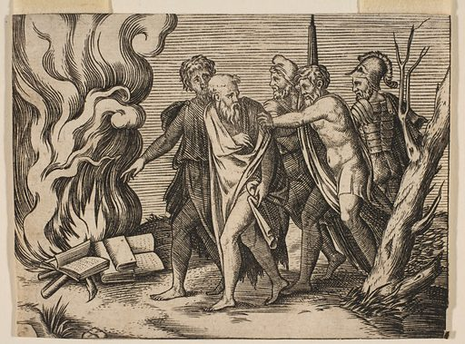 A group of men at right pushing philosophers toward a fire with burning books at the left (ca. 1515–27). Accession number: 17.50.16-23.