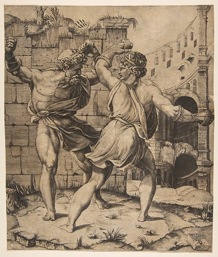 Entellus and Dares fighting in front of classical ruins (1520–25). Accession number: 17.50.16-106.