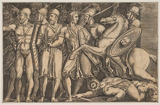 Trajan Fighting the Dacians; Trajan on horseback at right riding towards a group of soldiers at left and trampling two men (ca. 1515–1600). Accession number: 17.3.3356.