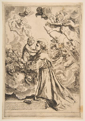 Saint Anthony of Padua adoring the Christ Child in Glory, copy after Cantarini (ca. 1640 or after). Accession number: 17.37.215.