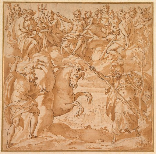 The Contest Between Athena and Poseidon for the Possession of Athens (1570s). Accession number: 2000.320.