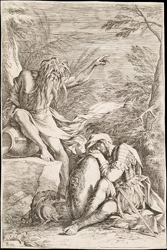 Dream of Aeneas: Aeneas rests his head on his hands atop his shield, while the river god Tiber leans on a vessel and points upward with his left hand (ca 1663–1664). Accession number: 17.50.17–85.
