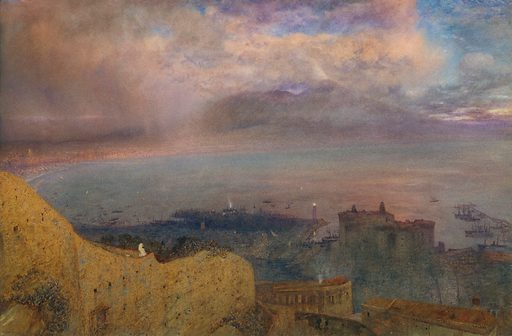 View of the Bay of Naples with Vesuvius, Smoking, in the Distance (Evening) (1871). Accession number: 2000.318.