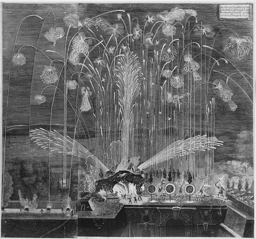 Festival for the Family of the Elector of Saxony, Dresden, February 28, 1678: Hercules Fireworks. Accession number: 53.600.590.