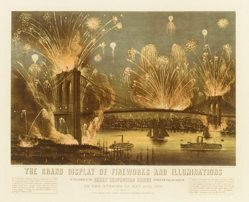 The Grand Display of Fireworks and Illuminations at the Opening of the Great Suspension Bridge between New York and Brooklyn on the Evening of May 24, 1883. View from New York Looking towards Brooklyn. (1883). Accession number: 54.90.779.