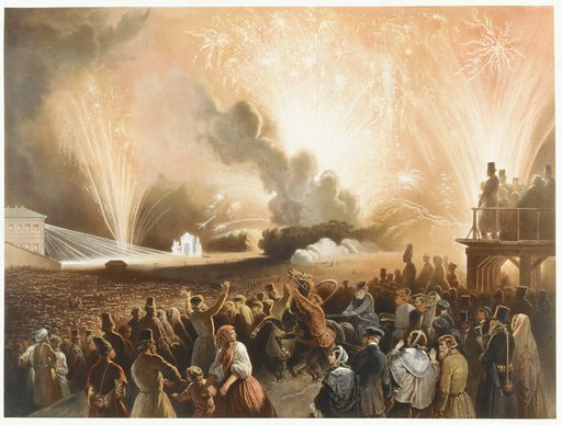 Coronation of Alexander II, Moscow, September 17, 1856: Fireworks Display before the Cadets
