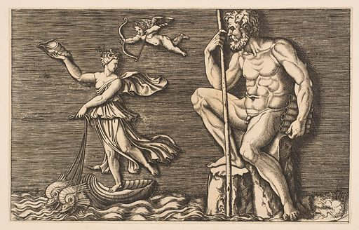 Galatea escaping Polyphemus; he is seated on a rock holding a staff and pipes and looking towards Galatea at right riding a shell pulled by two dolphins, Cupid flying above (ca. 1515–1600). Accession number: 59.570.296.