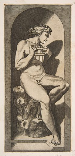 Olympus naked seated on a tree stump holding pipes, set within a niche (ca. 1515–27). Accession number: 26.50.1(73).