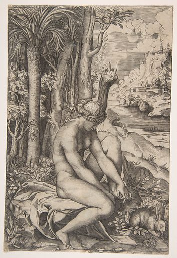 Venus removing a thorn from her left foot while seated beside trees and foliage, a hare eating grass before her (ca. 1515–27). Accession number: 49.97.112.
