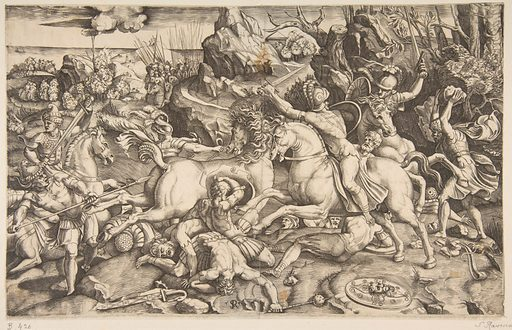 Battle scene in a landscape with soldiers on horseback and several fallen men, another group of riders in the background (ca. 1520). Accession number: 59.570.277.