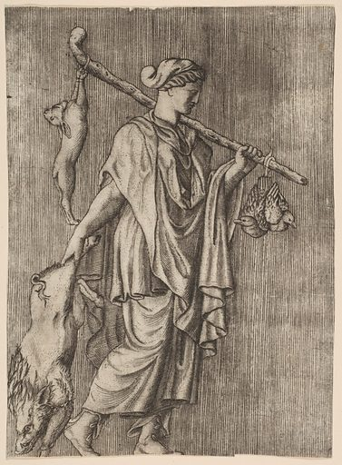 Woman returning from a hunt carrying a boar in her right hand and a stick on her left shoulder to which a hare and two ducks are tied (ca. 1515–27). Accession number: 49.97.162.