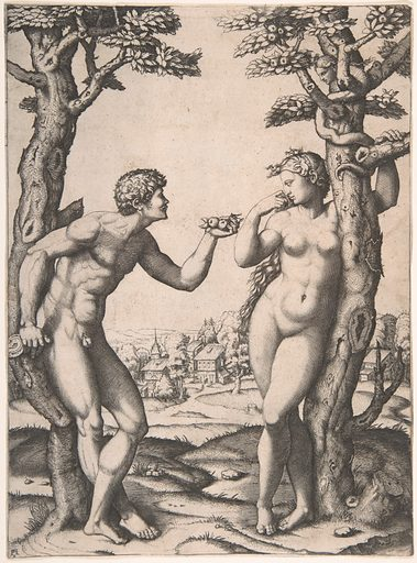 Adam and Eve flanked by two trees, a town in the background (ca. 1512–14). Accession number: 17.50.42.