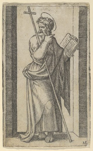 Saint Philip, book in his left hand, staff resting on his left arm, from the series 'Piccoli Santi' (Small Saints) (ca. 1500–1527). Accession number: 49.97.42.