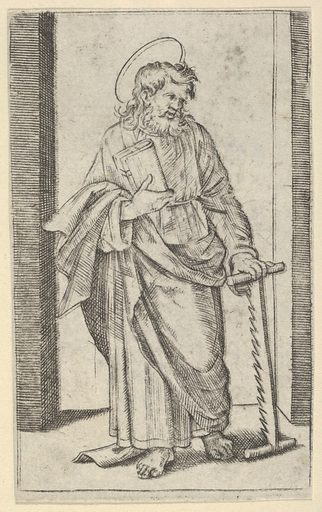 Saint Simon, a saw in his lowered left hand, from the series 'Piccoli Santi' (Small Saints) (ca. 1500–1527). Accession number: 49.95.44.