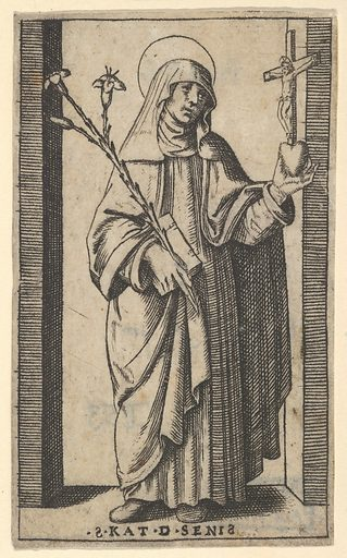 Saint Catherine of Siena standing holding flowers and book in her right hand, a heart and crucifix in her left,   from the series 'Piccoli Santi' (Small Saints) (ca. 1500–1527). Accession number: 49.97.67.