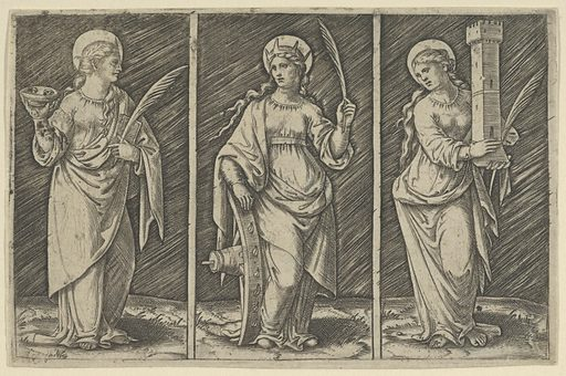 Saint Barbara (left), Saint Catherine, (center), Saint Lucy (right) (ca. 1500–1527). Accession number: 49.97.37.