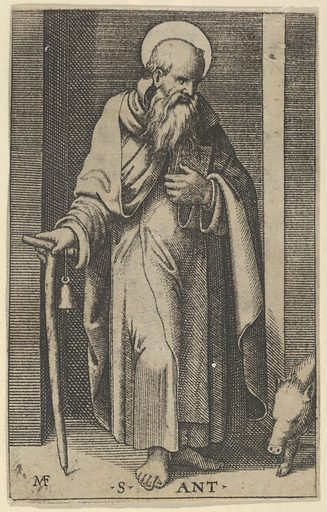 Saint Anthony, a staff in his right hand, from the series
