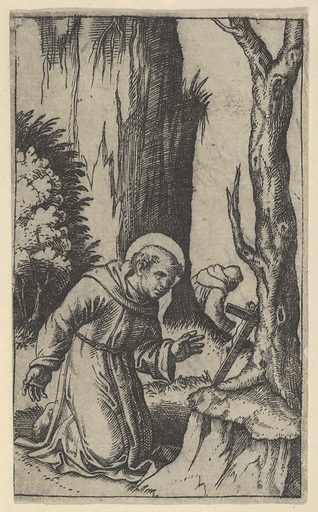 Saint Francis of Assisi praying before a crucifix, from the series 'Piccoli Santi' (Small Saints) (ca. 1500–1527). Accession number: 49.97.50.