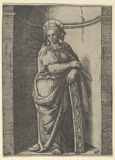 Saint Catherine standing in a niche, resting on a wheel, her instrument of torture (ca. 1500–1527). Accession number: 49.97.35.