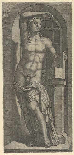 Apollo partly naked standing in a niche, left hand resting on an open box (ca. 1500–1527). Accession number: 49.97.115.