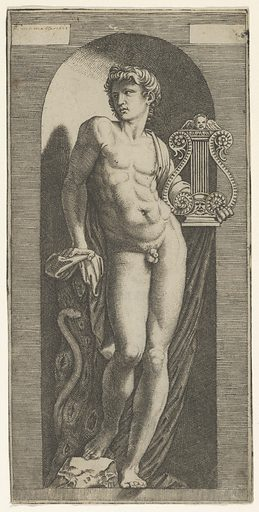A statue of Apollo, naked standing in a niche, holding a lyre in his left hand and leaning on a tree trunk (1512–15). Accession number: 49.97.116.